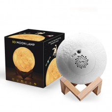 """18CM/7.1"""" Bluetooth Speaker Lamp 3D Moon Night Light USB Charging 3 Light Color Touch & Tap Control"""