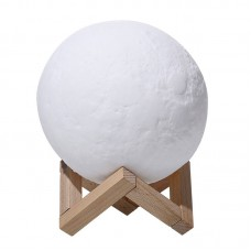 8CM 3D Moon Night Light Lamp USB Rechargeable Atmosphere Night Light Touch Control 3 Light Colors