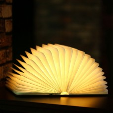 Wooden Book Shaped Lamp Folding Book Lamp Foldable Book Light Gift USB Rechargeable Extra Mini