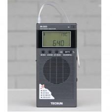 TECSUN M-303 Mini FM Radio Bluetooth Receiver 64-108MHz Portable FM-BT Receiver Music Player w/ Mic