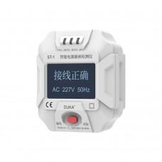 "DUKA ST-1 Smart Socket Tester Electric Wall Socket Tester 90-250V 1.72"" LCD Digital Display Screen"