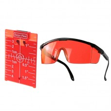 Magnetic Target Card Plate Level Tool Rotary Cross Line Horizontal Vertical with Protection Goggle Glasses Set-Red
