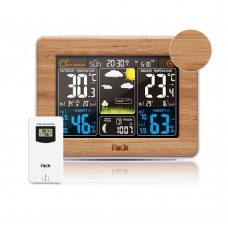Weather Station Air Pressure Forecast Alarm Clocks Indoor Outdoor Temperature And Humidity Wireless Multifunction Table Watch-Bamboo Color