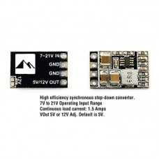 Matek Micro BEC/Step Down Converter Ultra-Small Ultra-Light Output 5V/12V Adjustable Continuous 1.5A