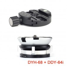 SUNWAYFOTO DYH-68 Leveling Base Leveling Head + DDY-64i Tripod Head Quick Release Clamp Discal Clamp
