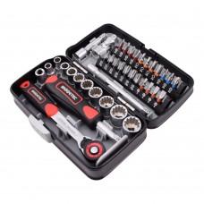 "WISRETEC 38pcs Mini Ratchet Wrench Set 1/4"" Socket Wrench Screw Bits Set Tools Kit Bike Maintenance Repair Hand Tool-Red"