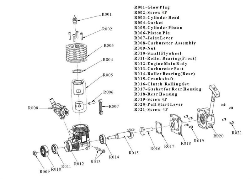 Hsp 02060 Blue Vx18 Engine 2 74cc Pull Starter For Rc 1  10 Nitro Car Buggy