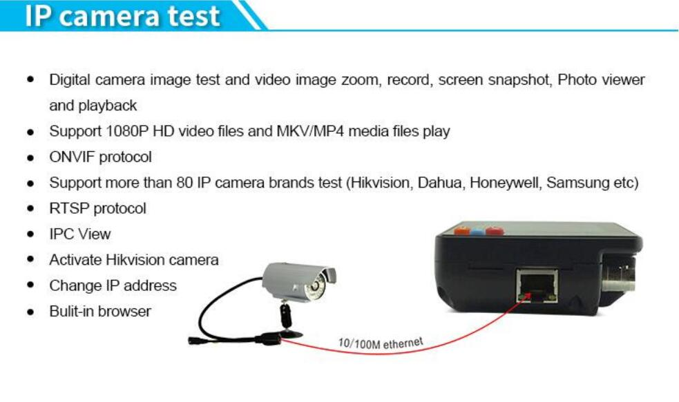 IPC1600 Plus 3 5 Inch IP CCTV Tester Monitor CVBS Camera ONVIF H 265