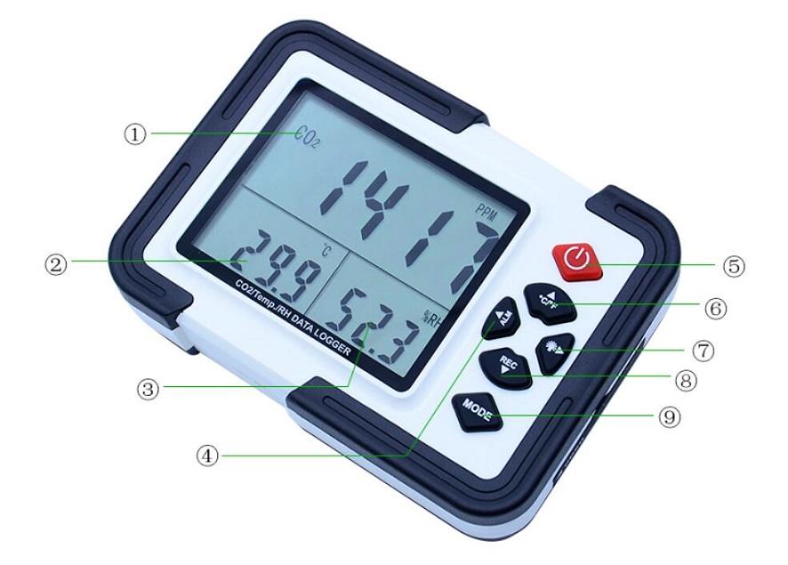 Ht 2000 Digital Co2 Monitor Co2 Meter Gas Analyzer