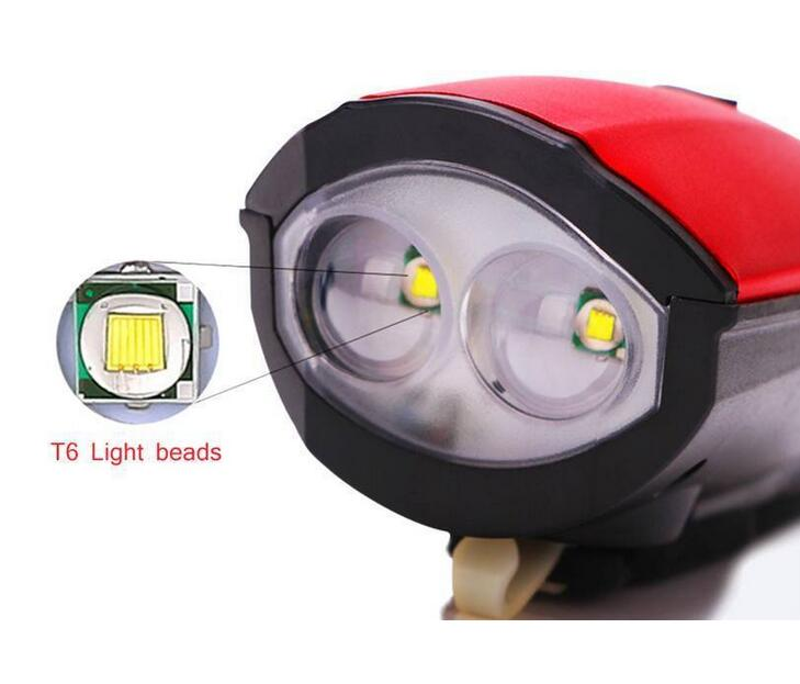 USB Rechargeable Bike Headlight LED Bicycle Front Head Light Cycling With Horn