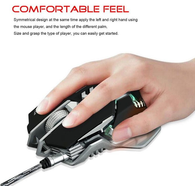 ZERODATE X300GY 4000DPI LED Optical USB Wired Gaming Mouse 7