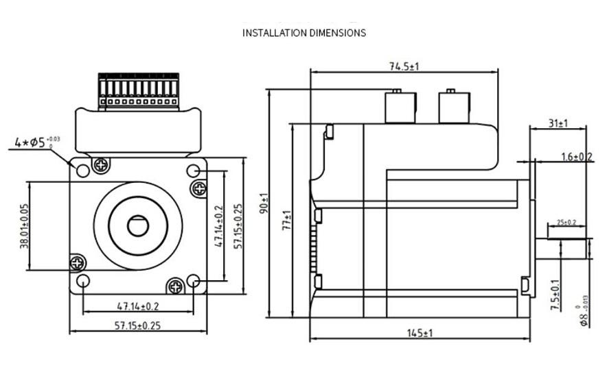 57 integrated loop 3nm mixed servo stepper motor driver high torque dc 36v 145mm