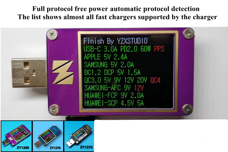 YZXstudio ZY1276 USB PD 3.0 QC4.0 QC3.0 Tester Voltage Current Type-C FCP AFC