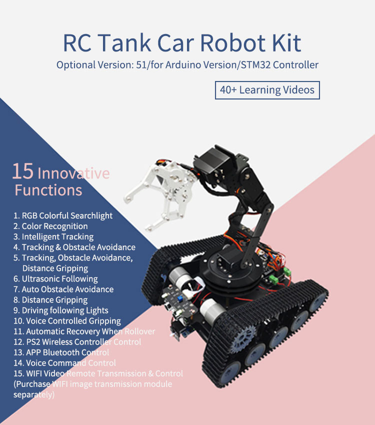Robot Tank Car Open Source 6DOF Mechanical Arm Tracking