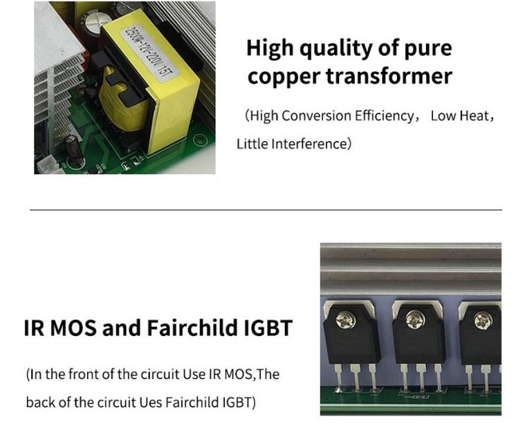 Peak4000W Pure Sine Wave Power Inverter 2000W DC 12V//24V//48V to AC 120V//220V