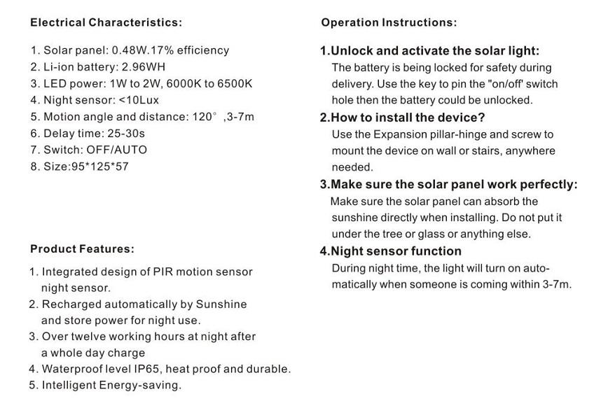 18001 8 Led Solar Body Induction Lamp Power Light Wireless