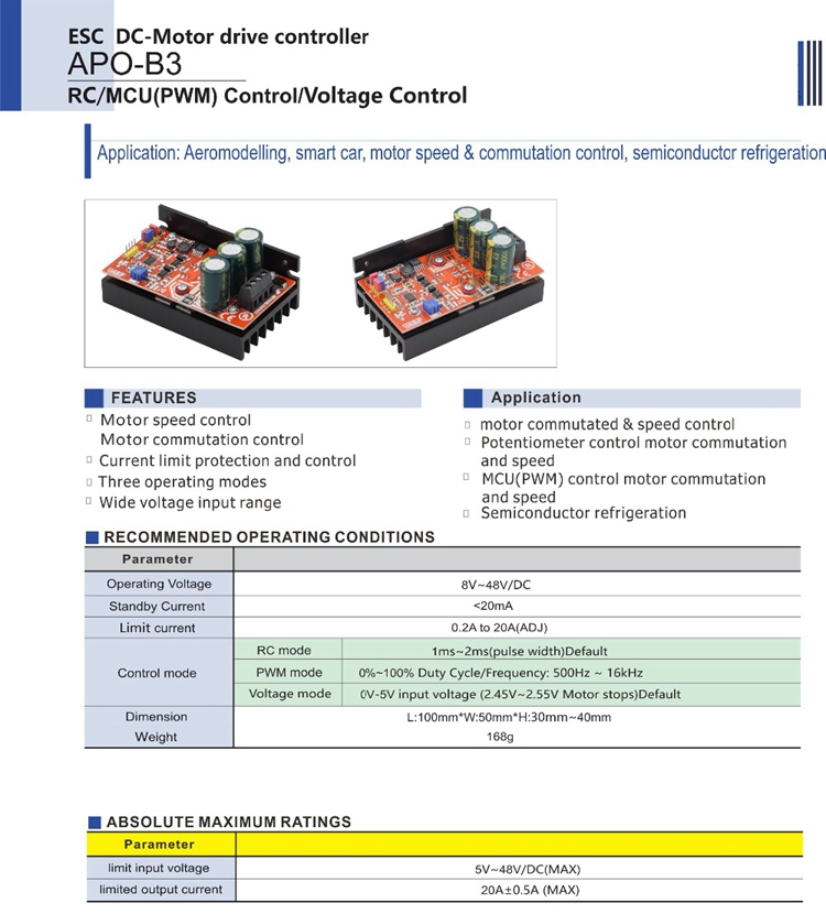 APO-B3 DC Brush Motor Controller ESC + PWM Controller +