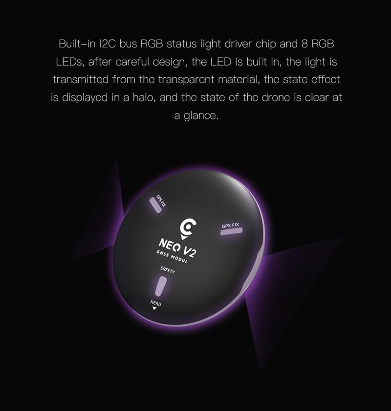 All-In-One NEO V2 GNSS Module w// U-BLOX M8N GPS RGB LED for V5 Flight Control ts