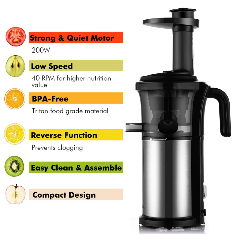 Details about Stainless Steel 200W 40RPM Slow Masticating Juicer Wide Chute BPA Free od34