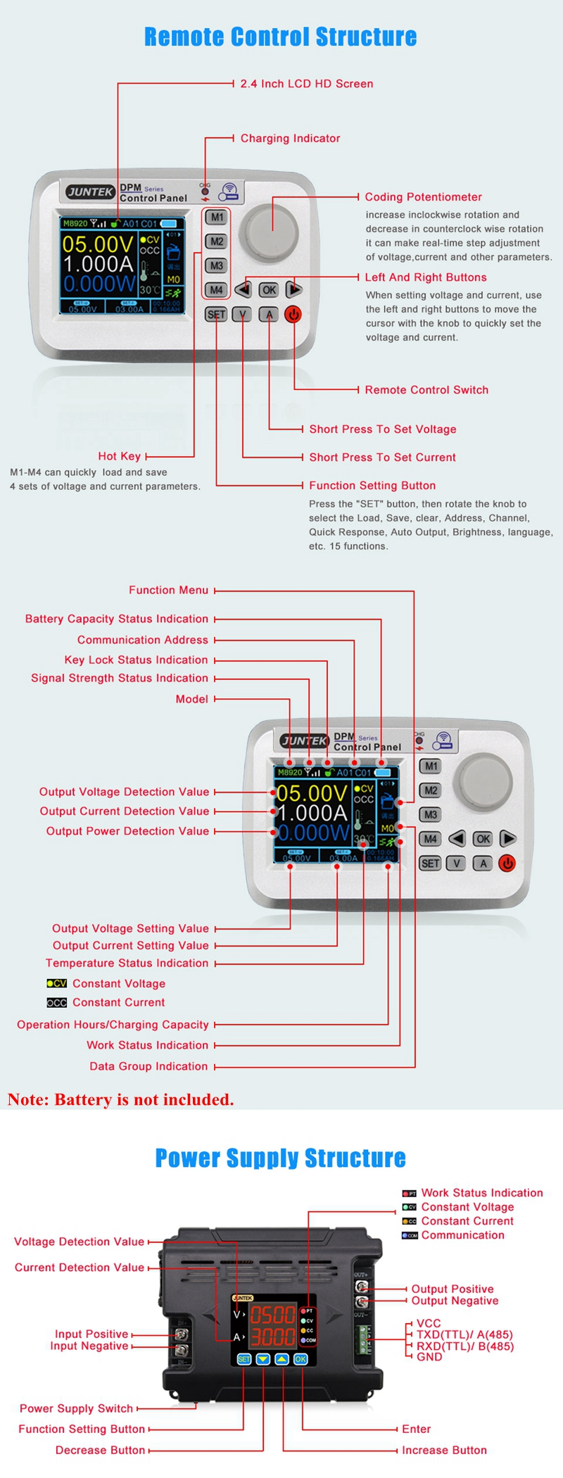 DPM-8624 Programmable DC Power Supply Adjustable DC CV CC Step-Down Module TTL#Z