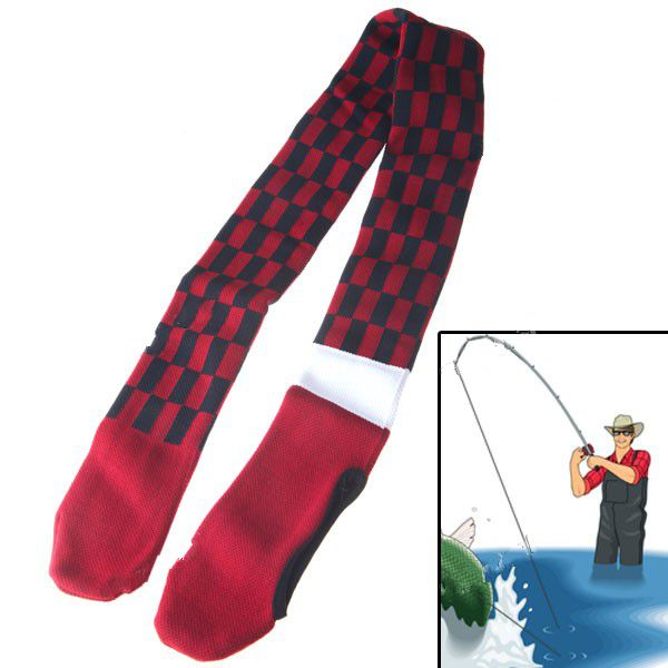 Unique Elastic Retractable Fishing Rod Bag Pouch Protector - Red & Black