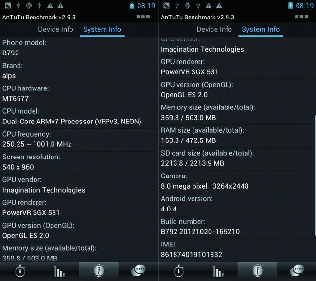 Star B792 Smart Phone Android 4.0 MTK6577 Dual Core 3G GPS 4.3  Inch QHD Screen- Black