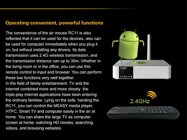 RC11 Air Mouse Presenter 2.4GHz + QWERTY Keyboard with Gyroscope for PC Android TV Box HTPC- Black