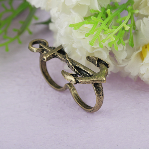 Fashionable Retro Style Ship Pattern Double Circles Metal Finger Ring