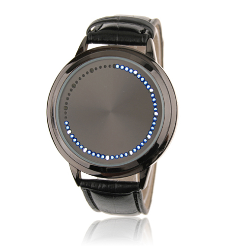 Blue LED Touchscreen Watch with Black Leather Strap