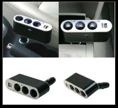 WF-0306 In-Car 1 to 3 In- Car USB Triple Socket Charger with Switches  Black
