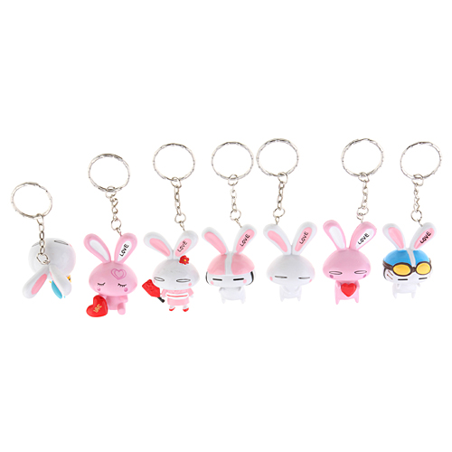 7pcs Lovely 2 inch Love Rabbit Plastic Keychain