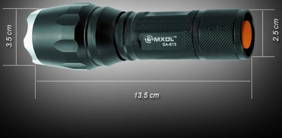 Pointed Stainless Steel Zoom Flashlight 1600 Lumens Black and Silvery Head