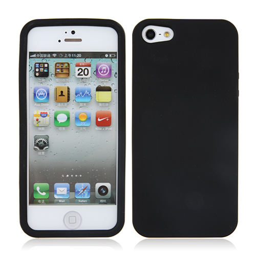Black Soft Silicone Rubber Back Case Cover for iPhone 5