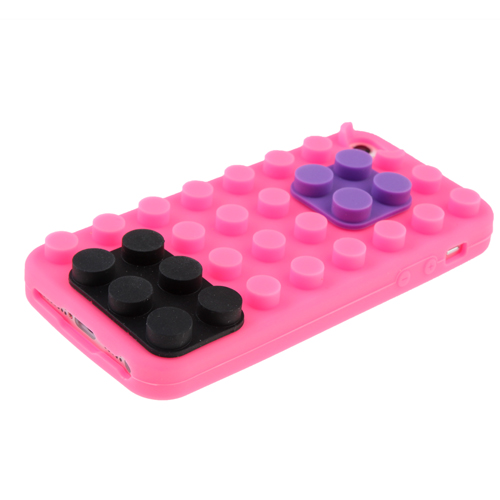 Brick Block Silicone Rubber Skin Soft Back Case Cover for iPhone 5