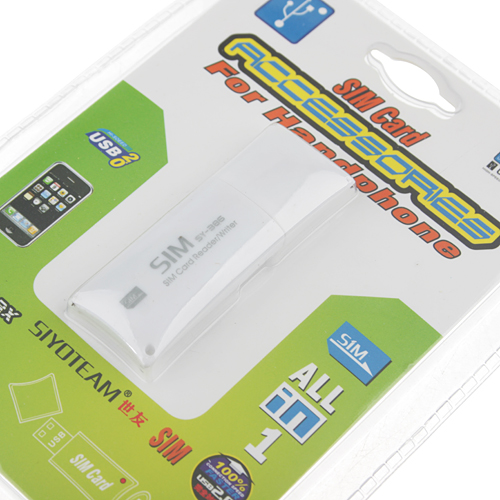 SY-386 USB2.0 Hi-Speed SIM Card Accessories For Handphone White