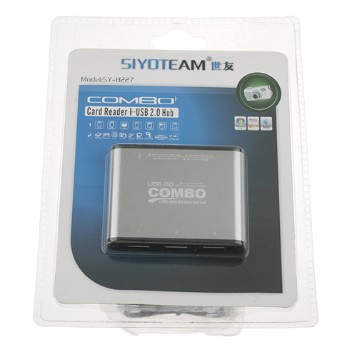 SY-H227 COMBO Multi in One Memory Card Reader with 3 Ports USB 2.0 High Speed Hub