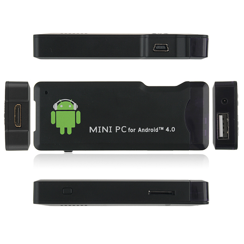 OEM MK802 Mini Android PC Android TV Box Android 4.0 Tcc8920 HDMI TF 4GB/1G RAM- Black