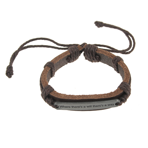 Hand-made Proverb Pattern Cowhide Bracelet