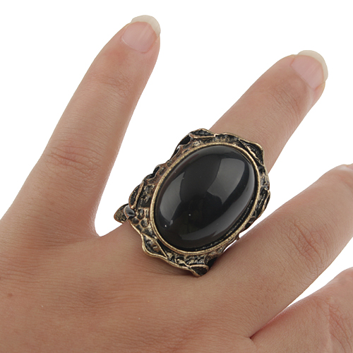 Vintage Black Onyx Bronze Ring Jewelry