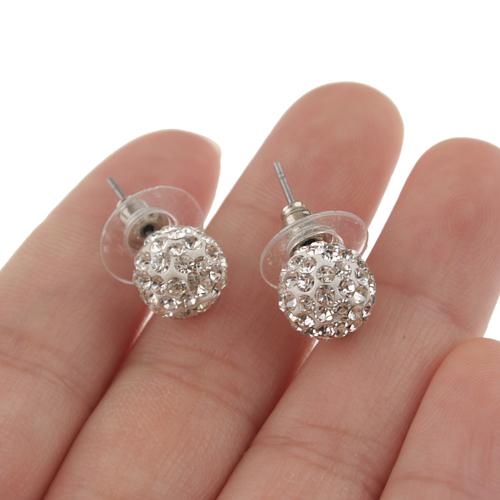 Ball Style Rhinestone Decor Earrings Jewelry