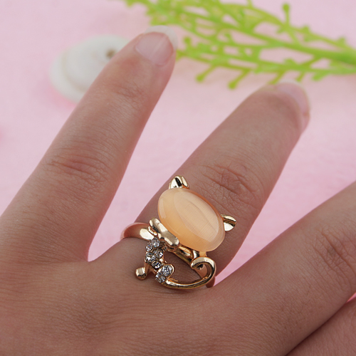 Cute Cat Style Rhinestone Decor Ring Jewelry
