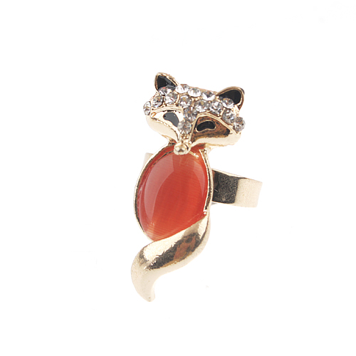 Adjustable Fox Style Rhinestone Decor Ring Jewelry