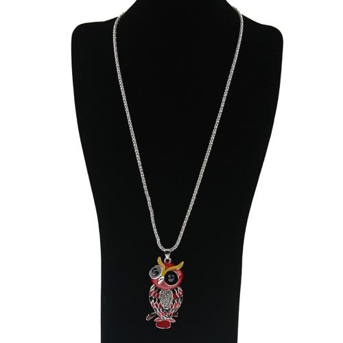 Owl Pendant Rhinestone Decor Necklace Jewelry