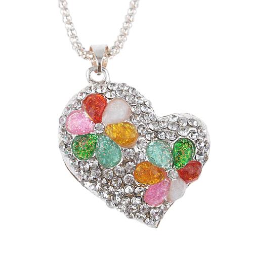 Heart Pendant Colorful Rhinestone Decor Necklace Jewelry