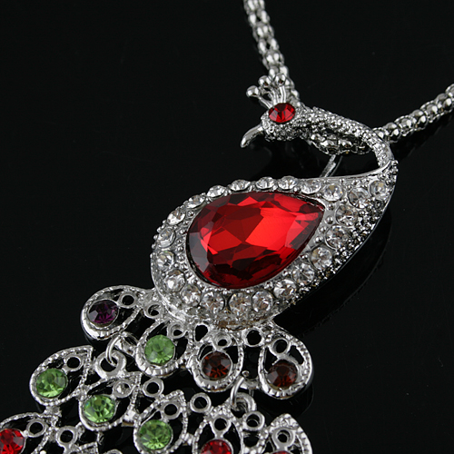 Colorful Rhinestone Decor Peacock Pendant Necklace Jewelry