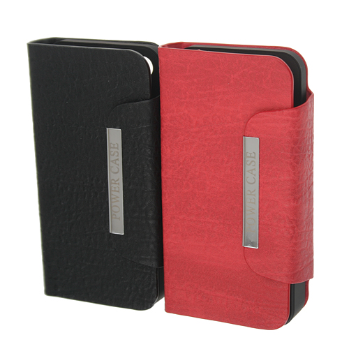 Good Quality 2450mAh External Battery Flip Leather Charger Power Case for iPhone 4/4S  2 Colors