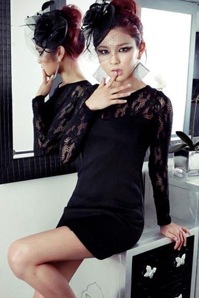 Fashion Round Neck Long Sleeve Slim Dress