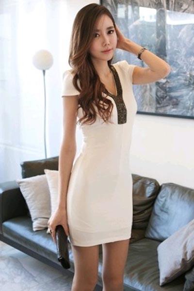 Fashion V Neck Short Sleeve Slim Dress