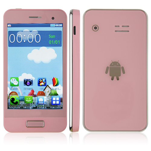 S9500 Phone Dual Band Dual SIM Card Dual Camera Bluetooth 3.5 Inch Touch Screen- Pink