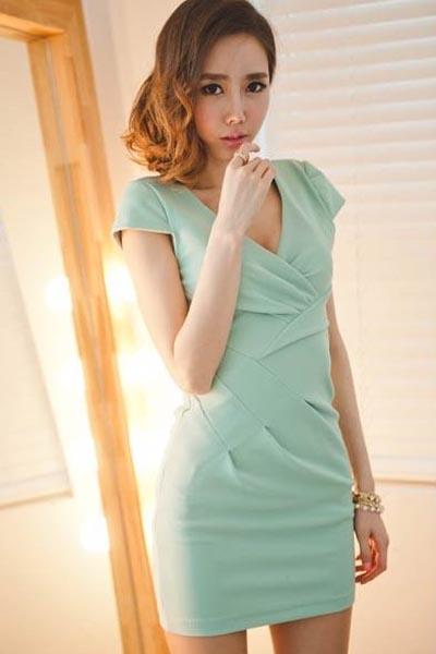 Fashion Cross V Neck Short Sleeve Slim Dress